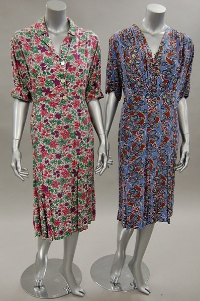 1127: Colourful day dresses, 1930s-40s, mainly floral p - 3