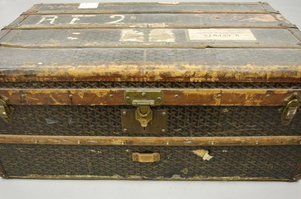 8: A Goyard cabin trunk, circa 1900, with printed trell