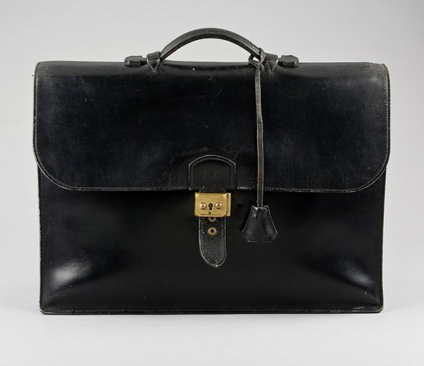 14: An Hermès black box-leather briefcase, probably 196