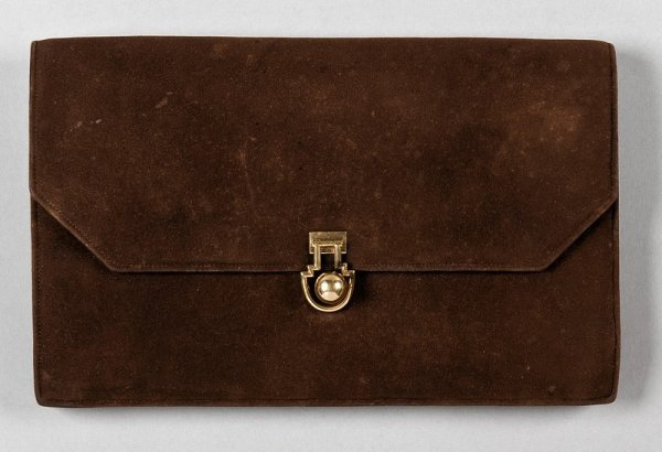 16: A Cartier London brown suede pochette, 1930s, the s