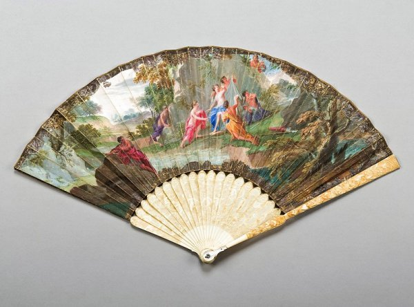 22: A painted fan, early 18th century, the leaf painted
