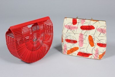 A group of handbags, mainly 1960s-70s, leather, printed
