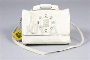 A Dallas Handbags white vinyl mock-croc 'Telephone'