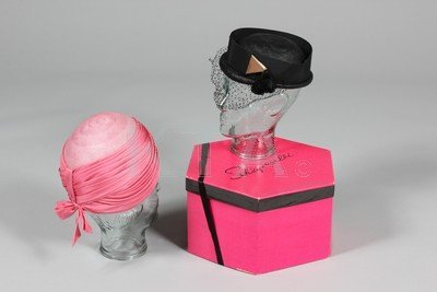 Two Schiaparelli hats, early 1960s, one of pink silk