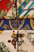 Five Hermes scarves, 1980s-90s, comprising 'Mors et