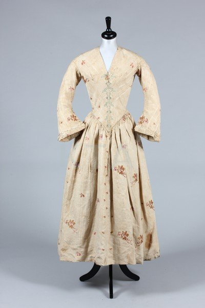 An 1840s gown made from 1770s Spitalfields brocade,
