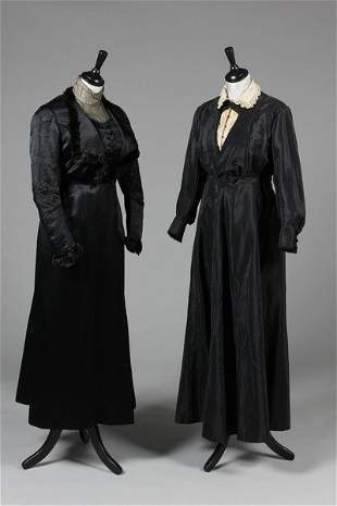 A group of mainly mourning dresses, circa 1912-18, four
