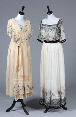 A printed and beaded ivory chiffon dress, circa 1914,
