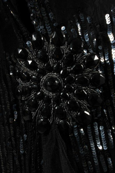 A sequinned black tulle tabard dress, early 1920s, the - 4