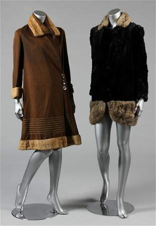A group of day/dinner/mourning dresses and coats circa