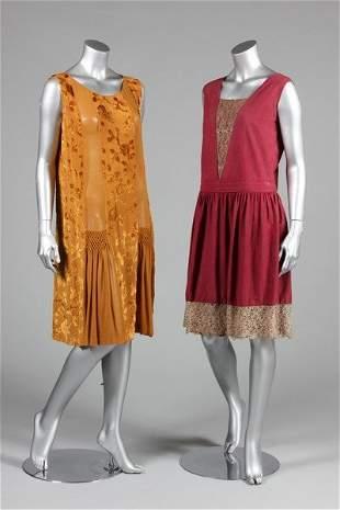 Cocktail/dinner dresses, late 1920s, of mustard devore