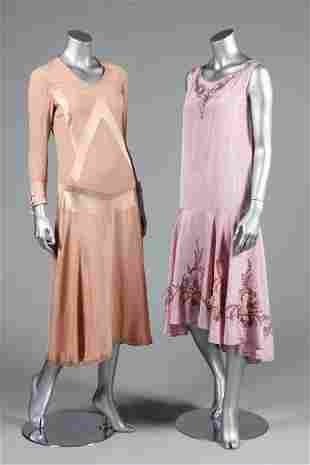 Four pastel coloured evening ensembles, late 20s and