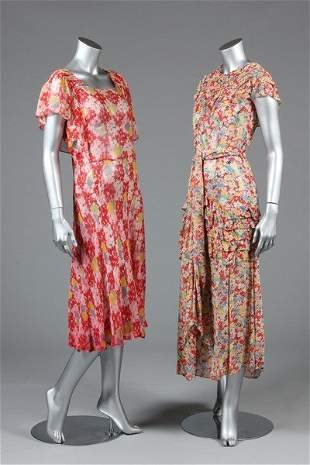 Two floral printed chiffon dresses, early 1930s, one
