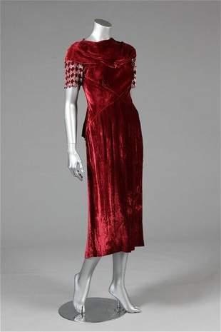 Three bias-cut velvet evening gowns, 1930s, comprising:
