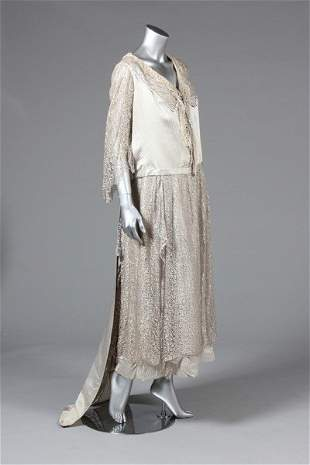 A striped satin and silver lace evening gown, 1930s,