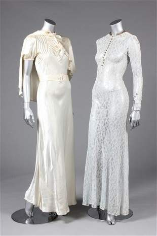 Two bridal gowns, mid-late 1930s, one with satin banded