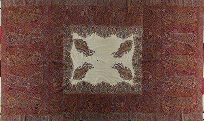A woven kashmir shawl, circa 1840, the ivory central