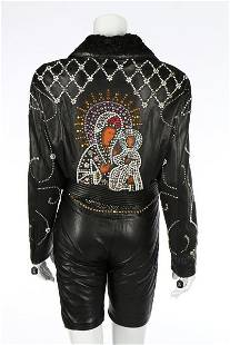 A Gianni Versace black leather studded jacket with