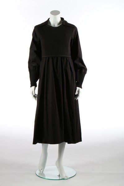 A Yohji Yamamoto black calico smock dress, probably