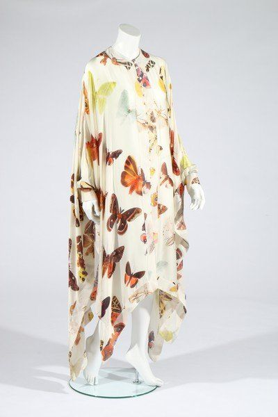An Alexander McQueen moth print satin kaftan,