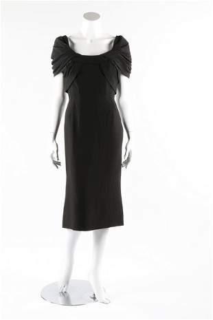 A Pierre Balmain couture black silk crepe dinner dress,