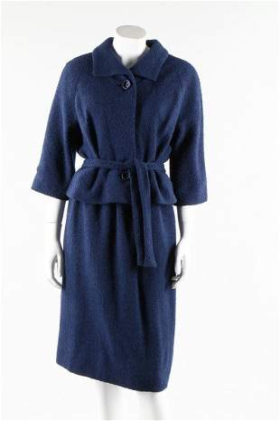 A Givenchy couture blue boucle wool suit, circa 1960.