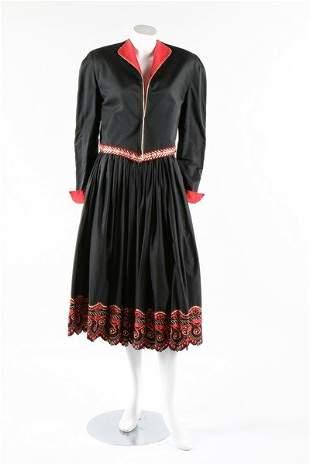A Claude Montana pour Gibo black embroidered ensemble,