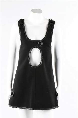 A Courreges black wool mini-dress or tunic top, mid