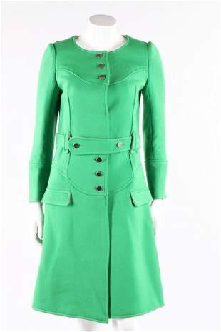 A Courreges emerald-green wool coat, late 1960s.