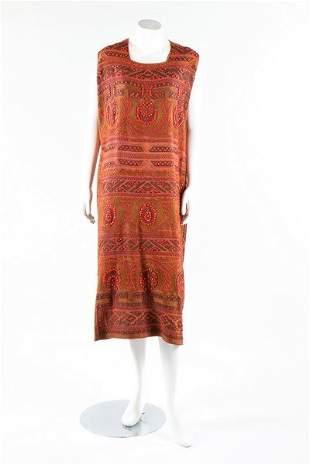 A cinammon silk crepe flapper dress, early 1920s.