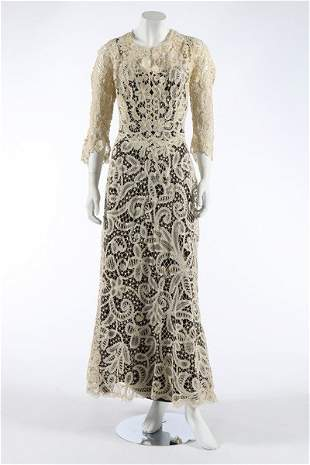 A gown of Edwardian Battenberg tapelace, altered in the