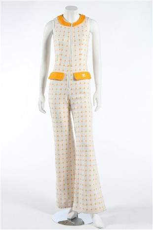 A Courreges Hyperbole knitted jump-suit, mid 1970s.