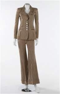 A Biba brown and white striped cotton canvas trouser