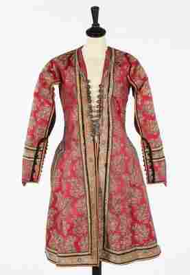 A jacket of Persian brocaded satin, 19th century. woven