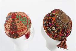 A large group of men's skull caps, Central Asian,