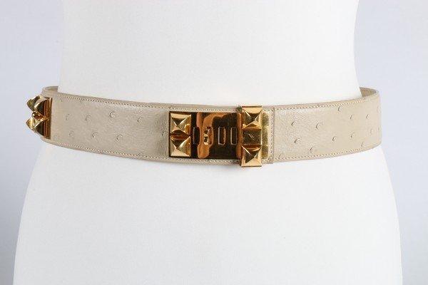 An Hermes cream ostrich leather Collier de Chien belt,