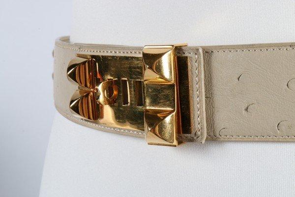 An Hermes cream ostrich leather Collier de Chien belt, - 2