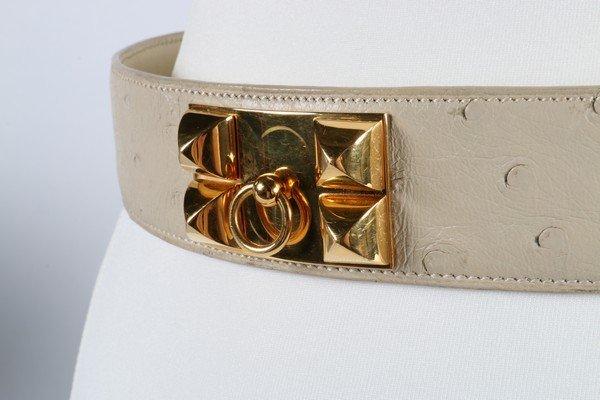 An Hermes cream ostrich leather Collier de Chien belt, - 3