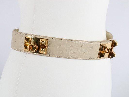 An Hermes cream ostrich leather Collier de Chien belt, - 4