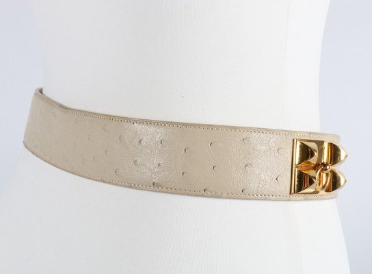 An Hermes cream ostrich leather Collier de Chien belt, - 5