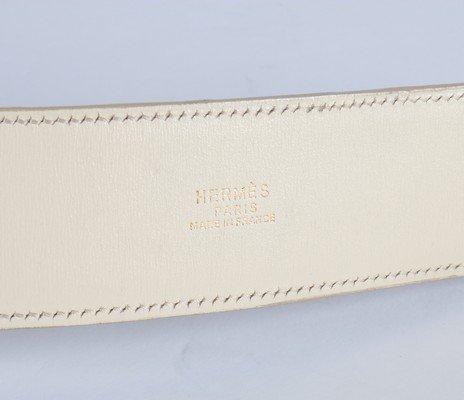 An Hermes cream ostrich leather Collier de Chien belt, - 6