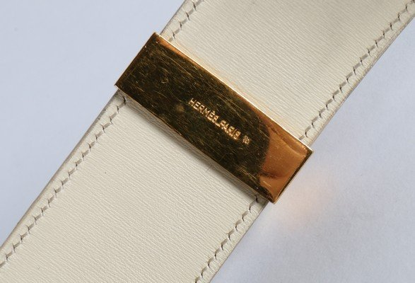 An Hermes cream ostrich leather Collier de Chien belt, - 7