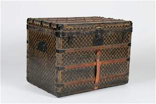 A Louis Vuitton trunk, late 19th century, with Damier