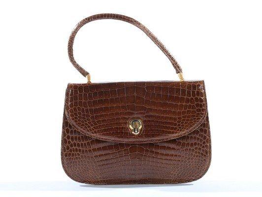 A Gucci brown crocodile handbag, 1960s, crocodylus