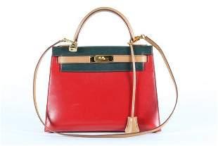 An Hermes tri-colour Kelly bag, probably 1990s,
