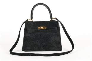 An Hermes black suede miniature Kelly bag, probably