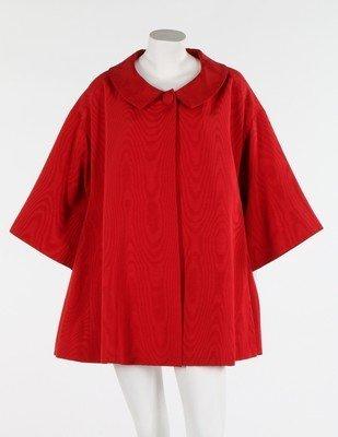A Lanvin-Castillo red moire ottoman silk swing jacket,
