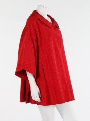 A Lanvin-Castillo red moire ottoman silk swing jacket, - 2