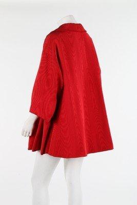 A Lanvin-Castillo red moire ottoman silk swing jacket, - 3