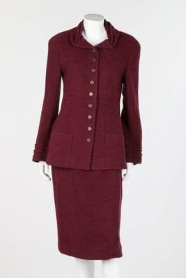 A Chanel wine chenille tweed suit, 1998, boutique